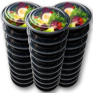 15pcs / set refeições Prep Recipientes plásticos Food Recipientes com tampas Outdoor portátil Bento Lunch Box, Almoço 1Compartment caixa redonda T200111