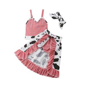 3PCS 1-5Y bambino del bambino delle ragazze dei capretti dei vestiti Pantaloncini Mucca Pantaloni Gonne rifornisce i vestiti del bambino Outfit