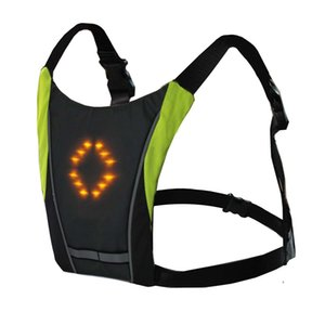 Yansıtıcı LED Kablosuz Güvenlik Yelek Sinyal Işık İçin Bisiklet Binme Gece Işık Yol Bisiklet Vest Uyarı dönün