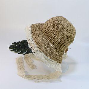 꽃 레이스 소년 아동 아동 비치 모자 긴 리본 키즈 썬 스크린 캡 VT0136에 대한 여자 밀짚 모자 여름 일 모자