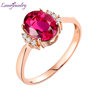 Loverjewelry 14 k Rose Gold Natural Diamond Rosa Tormalina Anello Genuino Anello Della Pietra Preziosa Gioielli Anelli Festa di Nozze Per Le Donne Regalo Y19052301