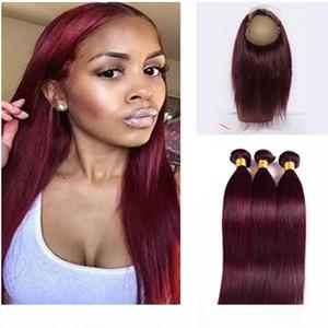 # Capelli 99j colorati capelli vergini brasiliani Pure Color Borgogna 360 Pizzo frontale con Etero Bundles Pre pizzico 360 Pizzo frontale
