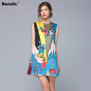 Banulin Runway Designer-Sommer-Kleid Frauen ärmelLuxusBlumenTierDruck beiläufige lose elegantes Kleid Vestidos B1613
