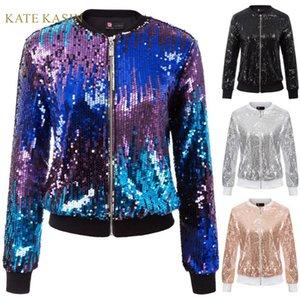 Kate Kasin Mulheres Sequin Jacket Brasão manga comprida Zipper Sparkling Jacket Lady Casual Exteriores Moda Glitter Streetwear KC000097