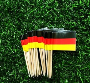 Wooden Flag Toothpicks German Flag Cupcake Toppers Toothpick for National Day Food Decoration