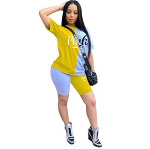 New Summer Letter Print Casual Women's Two Piece Outfits Set Tracksuit Shirt Sexy Top+Biker Shorts Jogger sport 2 piece Active