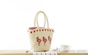 Hot New Korean Embroidery Women's Hand Bag Large Straw Shoulder Bag Fashion Flamingo Beach Bags Big Tote Woven Bag