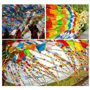 20 Pcs Drapeau de prière soie artificielle Écritures Streamer Tibet Lung Ta Bannière Fournitures bouddhiste tibétain impression couleur