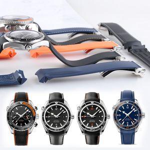 20mm 22mm Watch Strap Bands Orange Black Blue Waterproof Silicone Rubber Watchbands Bracelet Clasp Buckle For Omega Planet Ocean Tools