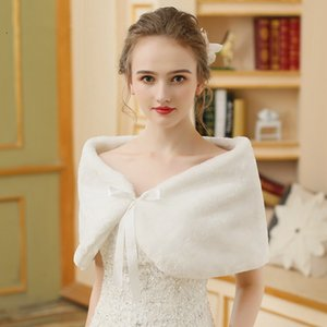 Elegant Warm Faux Fur Bolero Wedding Wrap Shawl Bridal Jacket Evening Wedding Winter Capes Ivory