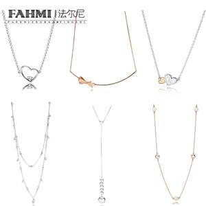 FAHMI 100% 925 Sterling Silber String Charming Perlen zeitgenössische Perle Kronleuchter Tropfen Rose Gold Bow Love Heart Halskette