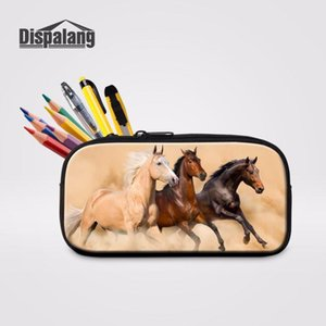 Dispalang School Kids Pencil Box Pen Pouch Storage Bags Cool Horse 3D Printing Make Up Cosmetic Bag Office School Supplies Zakka