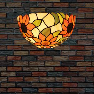 Tiffany Semicircle Girassóis Lâmpada de parede Europeia Industriële Wandlamp Quarto Sala Decoração arandela Aplique Vintage pared levou