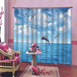 Blue Room costume nuvens brancas Jumping Dolphin Curtain Para vivo Bedroom Modern Dolphin gaivota Blackout Janela cortinas Decor