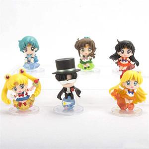 6 Pcs / lot Sailor Moon Anime bonito Lua Hare Água de gelo da lua Modelo Toy Bolo Decoração
