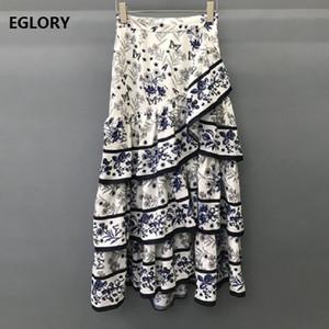 Designer de alta qualidade roupa Saias 2019 Partido Summer Club Saias Mulheres Vintage Imprimir Cascading Ruffle Mid-Calf saia Feminino