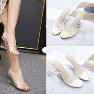 HOKSZVY Women Slipper High Heels Summer Summer Women's Shoes Word Buckle Simple Wedge Sandals Transparent Clear Shoes LFD-833-2