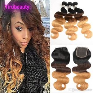 Peruvian Virgin Ombre Human Hair with Closure Ombre Body Wave 3 Bundles with Lace Closure 1B 4 27 Black Brown Blonde
