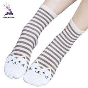 DOUDOULU 2019 Fashion 3D Animals Striped Cartoon Socks Women Cat Footprints Cotton Socks Floor skarpetki damskie #EW