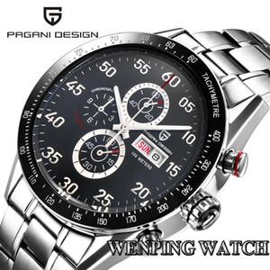 PAGANI conception 42mm top affaires montre date cadran noir chronographe à quartz multifonction tachymétrique mens montre des hommes