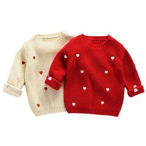 2019 New Autum Winter Baby Girls Knitted Sweaters Love Embroidery Kids Girls Sweater Tops Cotton Pullover Children Clothes
