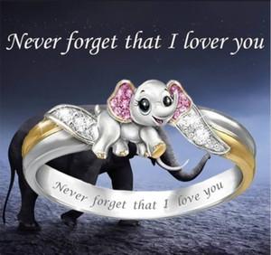 """kadın pembe gelin Prenses Alyans nişan yüzüğü l için enfes moda 925 Gümüş Yüzük uygun """" """"I love you asla unutmayın"""""""