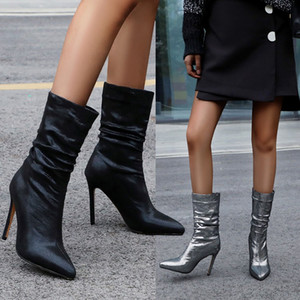 42 ila 48 seksi kadınlara ekstra boyut 34 yüksek topuk çizme sivri siyah gümüş ayak bileği patik gece kulübünde giyim
