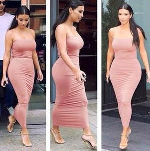 ملابس الموضة الحلوة اللون الفساتين المثيرة النحيلة الفساتين الفساتين الفساتين النساء الملابس المصممات Bodycon