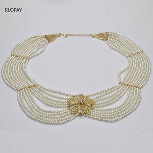 Big Size Pearl Necklace Algeria Wedding Necklace Women Chest Jewelry Chain Luxury Arabic Wedding Pearl Gold Chain