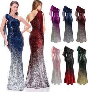 Angel-Fashions Gradient Sequin Party Party Chawn One Pheck Self-Tyle Chiffon Женщины Длинные Русалки Вечернее платье 286 PROM