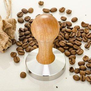 Coffee Espresso Tamper Wooden Handle 58MM Stainless Steel Coffee Bean Pressure Powder Hammer Flat Base Barista Tool ZA4426