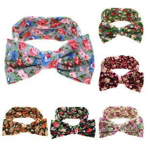 European and American Broken flowers big Bow headband lovely children's headband Baby hair band 6 colors Party Favor T2C5249