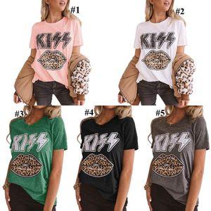 Lips Leopard Chemises femmes imprimé léopard Lips Kiss Graphic Tee Top T-shirt vintage mignon d'été de filles T-shirts LJJO7949