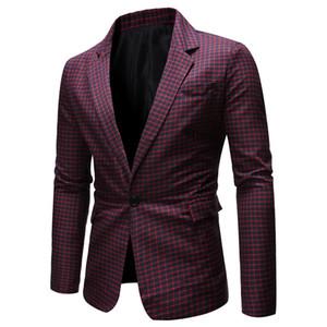 Costumes de printemps et d'automne Hommes ligne Plaid Imprimé Blazers Homme formel Bouton Simple Homme Vêtements Lapel Neck