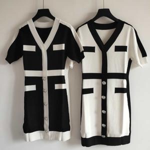 Breve marca para mujer vestidos de diseñador de moda para mujer vestido de mezcla de lana de alta calidad de lujo vestidos blancos y de color Negro YF203051