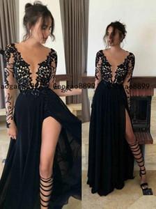 2020 сексуальная сторона высокого давления Сплит черный Пром платья Line отвесно кружева Pageant Формальные вечерние платья африканских Специальный Платья на заказ