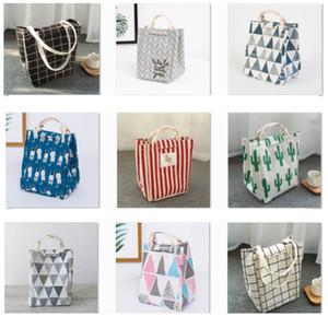 Многоразовая сумка для обеда изолированная коробка для завтрака холст ткань алюминиевая фольга полосатая сетка кактус обед сумка для взрослых школьный офис HH9-2350
