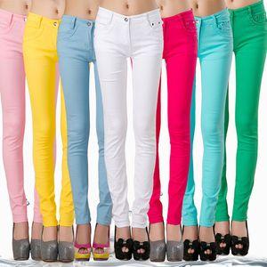 FSDKFAA donne più stirata di formato dei jeans Skinny Coreani piccola gamba jeans casuali dei pantaloni della matita di colore della caramella Nero Stacked Slim Leggings