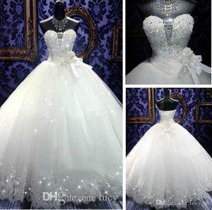 Nova Chegada Real Photoes Bling Bling Vestidos De Noiva De Cristal Voltar Bandage Apliques de Tule Até O Chão vestido de Baile Vestidos de Casamento