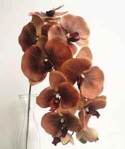 6pcs orchidées papillon Phalaenopsis orchidée grande tête de fleur d'orchidée 10 têtes / pièce 4 couleurs pour le mariage décoratif fleurs artificielles C18112601