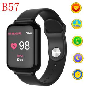 B57 mulheres homens rastreador de fitness inteligente relógios à prova d 'água esporte para ios android telefone smartwatch monitor de freqüência cardíaca pressão arterial funções