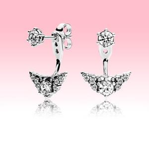 Orijinal kutusu ile Pandora 925 Gümüş Taç Stud küpe için büyük cz elmas kolye Küpe Kadınlar Düğün Takı