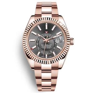 남성 자동 시계 고품질 자동 기계 스카이 거주자 GMT 달력 시계 스테인레스 스틸 발광 방수 손목 시계