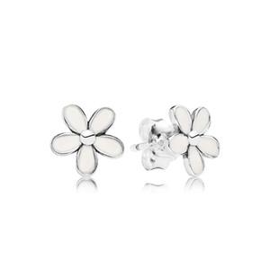 Beyaz Emaye Papatya Küçük çiçek Küpe Pandora 925 Ayar Gümüş için Sevimli Kadın Kızlar Saplama Küpe Hediye kutusu Set Moda aksesuarları