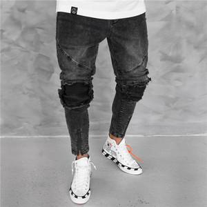 Loch Herren Designer Jeans Mode Weinlese Blass Zipper Panelled Mens dünne Bleistift-Hosen-beiläufige Männer Kleidung