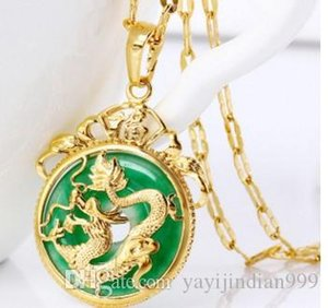 fashion gold inlay jade pendant chain necklace up-market 14.9y5kk