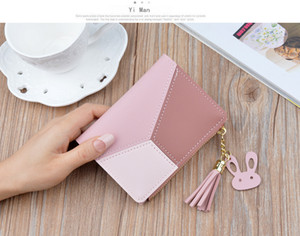 New wallet short ladies zipper wallet female student Korean version mosaic color tassels wild purse card package