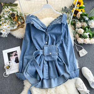 Jaquetas femininas smlinan primavera jaqueta denim jaqueta mulheres casaco colarinho único peito caelhas mujer harajuku streetwear feminino
