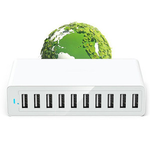 BEST10 Port Multi Usb Charger Hub 50W 10A Fast Usb Wall Charger Usb Charging Station Base Universal Mobile Phone Power Charging