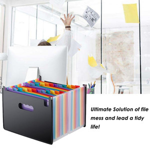 Rainbow Organ Business Document Organizer Portable 24 Pocket Expanding File Holder A4 Paper Organizer Storage Bag Office
